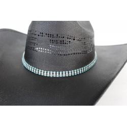 Hat Band 3 fili rhinestones turchese/cristallo