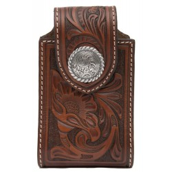 Brown Leather Tooled Floral w/ Round Concho Cell Phone Case