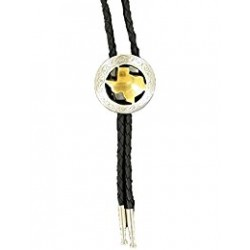 Bolo Tie Silver with Gold State of Texas Center