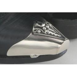 Punta snip per stivali in metallo argentato con pietra onice