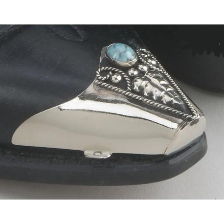 Punta snip per stivali in metallo argentato con pietra turchese