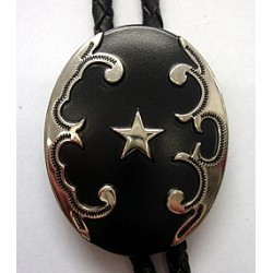 Black Oval with Star Concho Bolo Tie