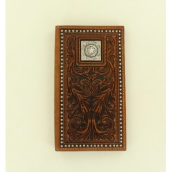 Nocona Dark Brown Tooled Star Concho Rodeo Wallet