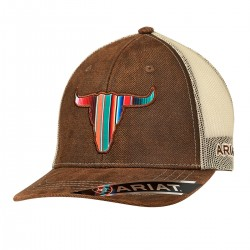 Ariat Western Mens Hat Baseball Cap Serape Bull Head Brown