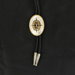 Bolo with gold and black aztec design