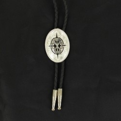 Bolo with silver and black aztec design