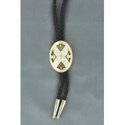 Bolo Tie Oval Silver with Aztec Design