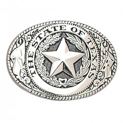Nocona The State of Texas Silver and Black Buckle