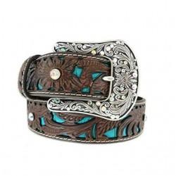 Ariat Turquoise Tooled Rhinestone Leather Belt