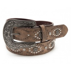 Nocona distressed light brown belt with conchos & studs