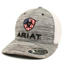 Ariat Baseball Cap US Flag Patch Mesh Snap Back Grey