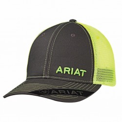 Ariat Baseball Cap Text Logo Mesh Snapback Grey Lime