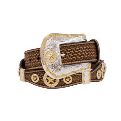 Nocona Fancy Western Leather Belt with Gold and Silver
