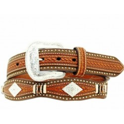 Nocona Leather Belt Western  Scallop Overlay Copper