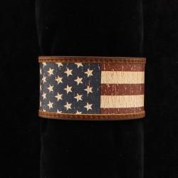 Distressed Flag Leather Bracelet