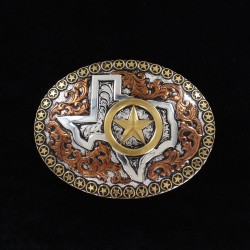 Crumrine Oval Buckle with Texas Motif