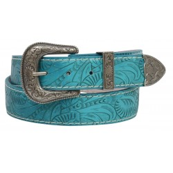 Angel Ranch Women's Turquoise Floral Western Belt
