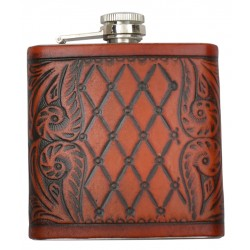 Flask Diamond Shaped and Floral Tooled Leather